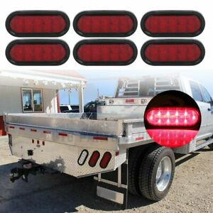 6x 6 21 Led Red Car Stop Tail Side Marker Light Universal For Truck Trailer
