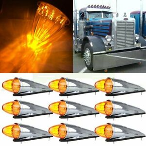 9pcs Amber 17 Led Semi Truck Roof Cab Marker Clearance Top Lights For Kenworth