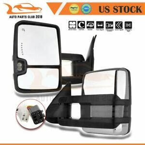 For 99 02 Silverado Suburban Sierra Power Signal Heated Chrome Tow Mirrors