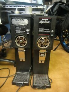 2 Bunn Omatic G2 t Black Commercial Coffee Grinders For Parts repair As Is