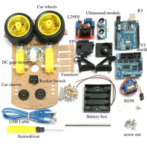 Smart Car Tracking Motor Auto Robot Ultrasonic Chassis 2wd Kit For Arduino Mcu