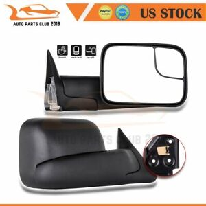 For 1994 2002 Dodge Ram Truck Pair Manual Filp Up Black Towing Mirrors