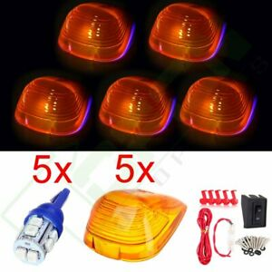 5 Cab Roof Marker Clearance Light Amber Cover W 12v Led wiring For Ford Truck