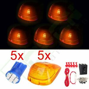 5x Cab Marker Running Roof Lights Amber Covers 12v Led Wiring Pack For Ford