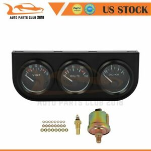 2 52mm 3in1 Gauges Kit Fits Most 12v Cars Trucks Tractors And Marine Engines