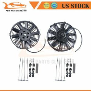 2x 8 Inch Push Pull Universal Radiator Condenser Electric Plastic Cooling Fan