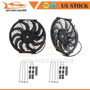 2pcs 12 Inch 12v Radiator Condenser Electric New Plastic Cooling Fan Mount Kit