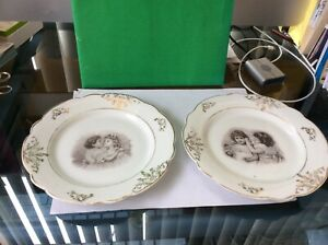 Pair Antique Transfer Children Portrait Plates One Is Young Girl Holding Doll