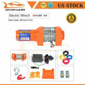 Electric Recovery Winch Towing 3500lbs Truck Trailer Suv Steel Cable Off Road