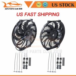 12 Inch Universal Radiator Condenser Electric Slim Plastic Black Cooling Fan 2x