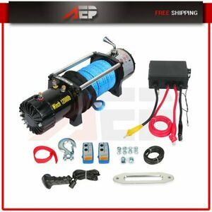 12000lb 12v Electric Recovery Winch Wireless Remote For Trailer Truck Suv