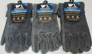 3 Pair wells Lamont Hydrahyde Water Resistant Leather Gloves Heavy Duty Large