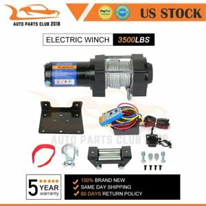 1x Electric Winch Towing 3500lbs Truck Trailer Suv Steel Cable Off Road