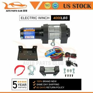 1x Electric Winch Towing 4000lbs Truck Trailer Suv Steel Cable Off Road