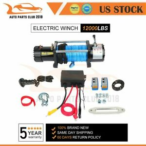 Electric Winch Towing 12000lbs Truck Trailer Suv Synthetic Rope Off Road