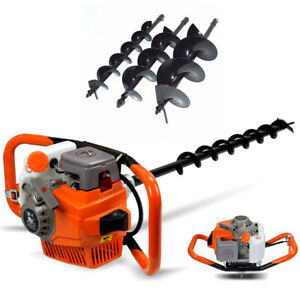 71cc 2 Stroke Gas Power Post Hole Digger Auger Borer Fence Drill W 4 6 8 Bits