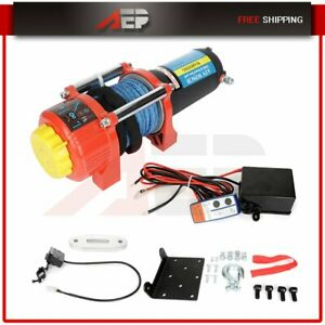 12v 3500lbs Electric Winch 12v Synthetic Rope Atv Utv Winch Towing Truck 4wd