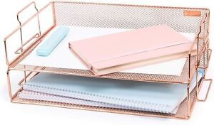 Rose Gold Letter Tray 2 Beautiful Sets Desk Accessories And Home Office New