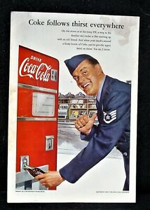 1952 Coca-Cola Old Coke Machine Air Force Military Soldier PX Store Art Print Ad