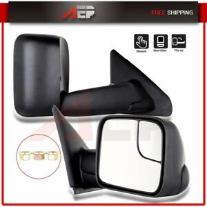 For 2002 2009 Dodge Ram Truck Pair Black Side View Mirrors Manual Towing Mirrors