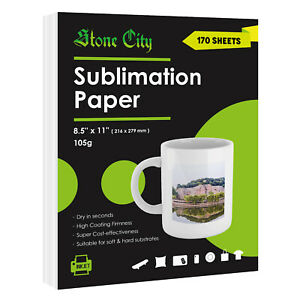 170 Sheets 8 5x11 Dye Sublimation Heat Transfer Paper 105g Cotton Polyester Mugs