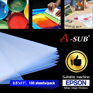 Asub 100 Sheets 8 5x11 Silk Screen Printing Waterproof Inkjet Transparency Film