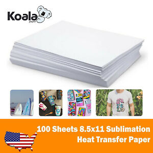 Koala 100 Sheets 8 5x11 Dye Sublimation Heat Transfer Paper Mug Cotton Polyester