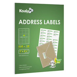 3000 Labels 30 Up Per Sheet 2 625 x1 Self Adhesive Shipping Address Fba Amazon