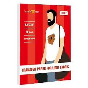 Printable Heat Transfer Vinyl Paper Light Cotton Inkjet Iron On 8 5x11 30 Sheets