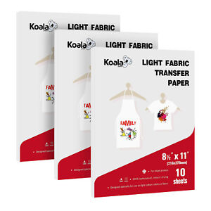 Koala 30 Sheets 8 5x11 Iron On Heat Transfer Paper T shirt Cotton Light Fabrics