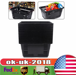 Handheld Shopping Baskets Shopping Totes Black Plastic With Handles Set Of 12 Us