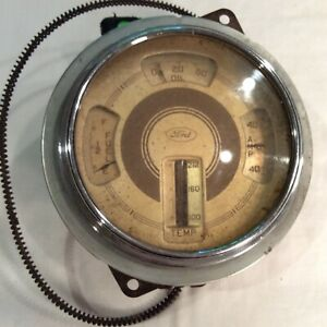 Vintage 1937 38 39 Ford Dash Gauge For Fuel Oil Temp Amp Gold Dial Chrome