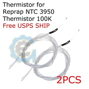 2pcs New Reprap Ntc 3950 Thermistor 100k With 1 Meter Wire For 3d Printer N211