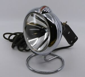 Vintage Ge Unity Chrome Handheld Spotlight W stand Bakelite Handle Works