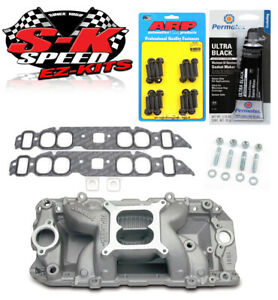 Edelbrock 7561 Performer Bbc Oval Port Rpm Air Gap Intake W bolts gaskets rtv
