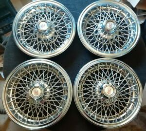 Vintage 1970 s 1980 s Chevy Monte Carlo Wire Wheel Covers Hubcaps 14 Inch