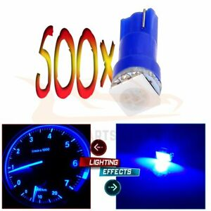 500x Blue T5 1 5050smd Wedge Dashboard Gauge Indicator Led Light Bulbs 70 74 73
