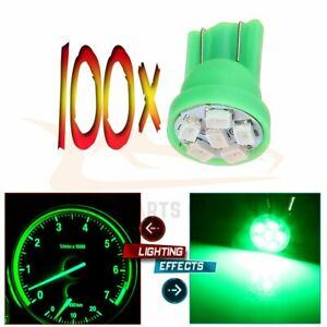 100x Green Led Instrument Dash Indicator Light Lamp Bulbs T10 W5w 2825 194 168