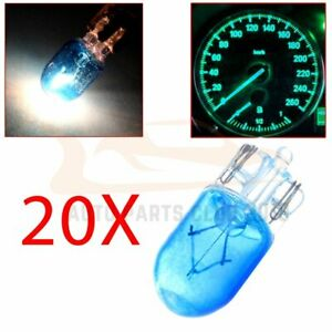 20x T10 194 168 Blue Halogen Bulbs Car Instrument Panel Dash Cluster Light Lamp