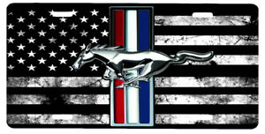 New Custom Black And White American Flag Ford Mustang Vanity License Plate 2