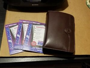 Day Runner Classic Brown Leather Zipper Pockets W 3 Inserts Packs