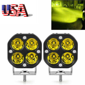 3inch 40w Yellow Led Work Light Spot Pods Driving Fog Offroad Atv Truck 4wd Us