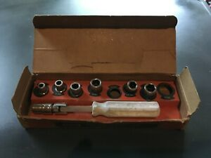 Vintage Oxwall 3905 10 Piece Flex Handle Socket Set With Original Box