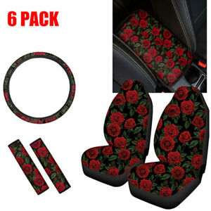6 Pack Womens Rose Car Seat Covers Seat Belt Pads Armrest Steering Wheel Cover