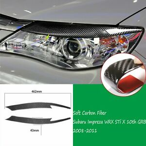 2carbon Fiber Headlight Eyebrow Trim Fit For Subaru Impreza Wrx 10th 2008 2011