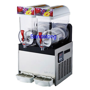 15l 2 Tank Commercial Frozen Drink Slush Slushy Machine Smoothie Maker 110v