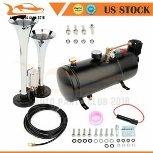 Dual Trumpet 120 Psi Air Compressor Complete System Train Horn Kit Car Truck
