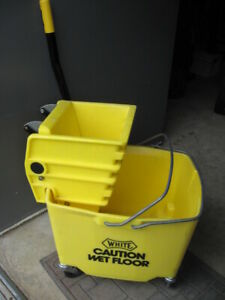 white Commercial Sanitation Mop Bucket W Press Wringer Lnc Pickup