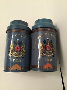 Two Vintage Tea Tins Gray/ blue Jackson's of Piccadilly Collectors Canister Jar.