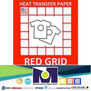 Red Grid Inkjet Heat Transfer Paper Light Color T Shirt 8 5 x11 100 Sheets